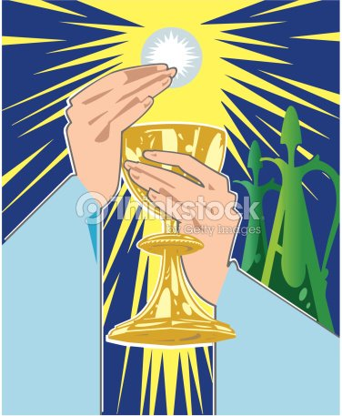 Hands Holding Chalice And Communion Wafer Color Also Available In