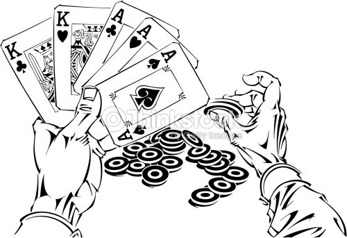 Hands Holding Playing Cards And Poker Chips Grouped