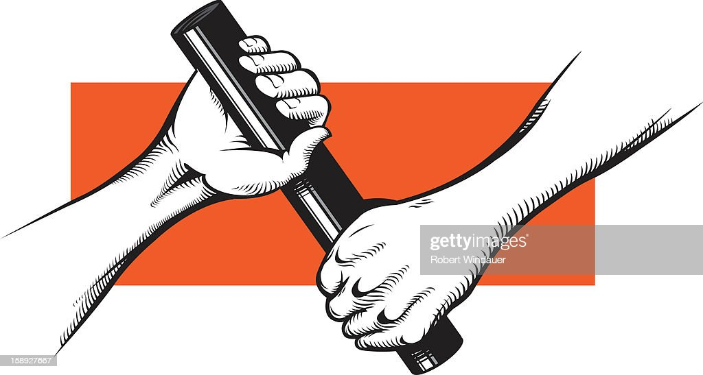 Hands passing off a baton : Stock Illustration