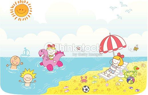 Glückliche Kinder Freunde Haben Spaß Im Sommer Strand Cartoon ...