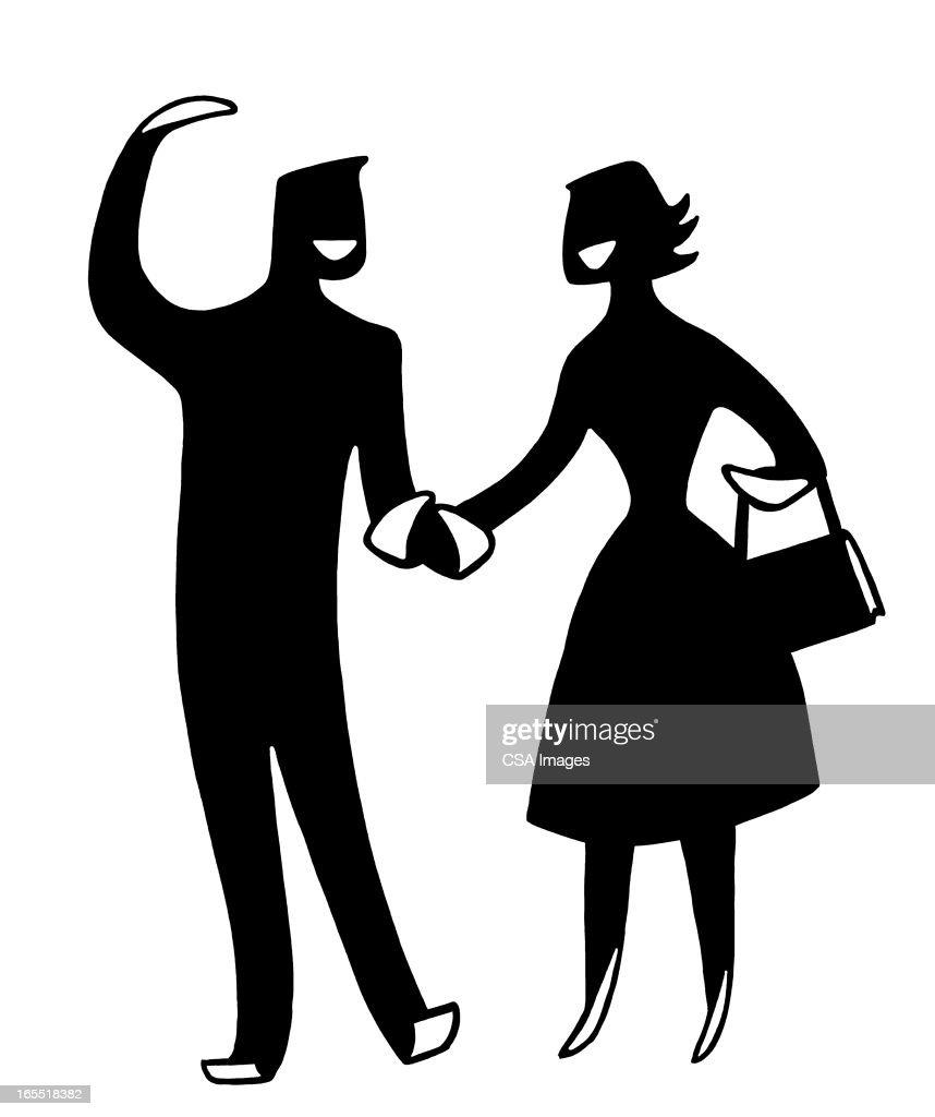 Happy Couple Holding Hands : Stock Illustration