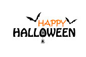 Happy Halloween black and orange text on the white background with bats