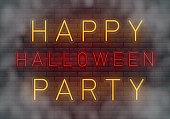Happy Halloween party neon sign, design template, modern trend design, night neon signboard, night bright advertising, light banner, light art. Vector illustration.