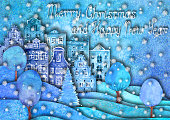 Happy new year and Merry christmas design. Watercolour hand drawn hills, houses, trees, snowflakes on purple blue teal background with lettering. Paper cut art craft style, 3d effect imitation.