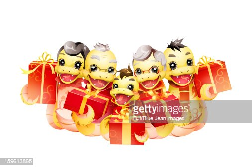 Happy snake family celebrating Chinese New Year with gifts : Stock Illustration