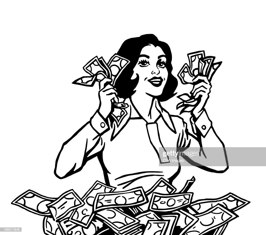 Happy Woman with Lots of Cash : Stock Illustration