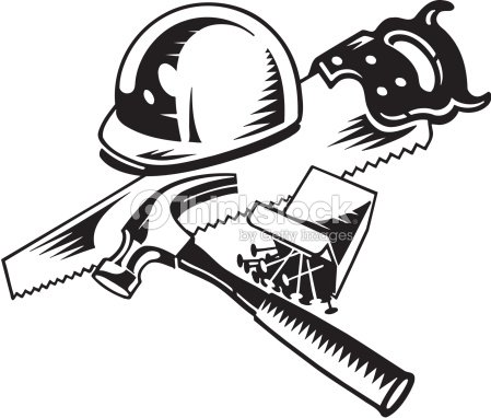 Hard Hat Saw Hammer And Nails Grouped Elements Vector Art ...