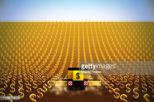 Harvesting dollar symbols : Stock Illustration