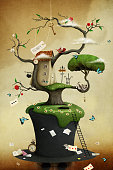 Conceptual illustration of tree with hat and fabulous and fancy objects. Computer graphics.