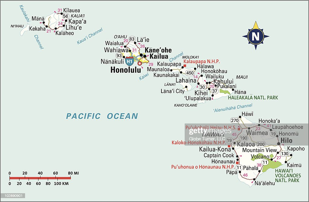 Hawaii Highway Map Vector Art Getty Images