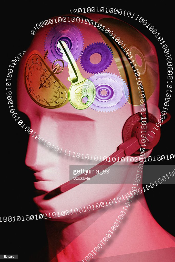 Head surrounded by binary, containing images : Stock Illustration
