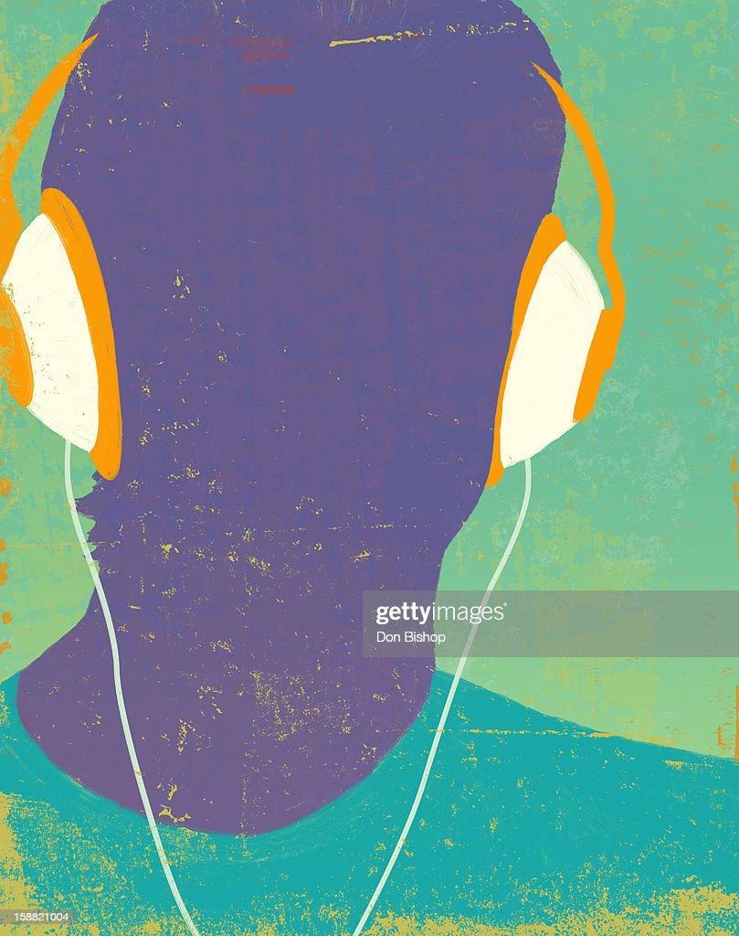 Headphones silhouette : Stock Illustration
