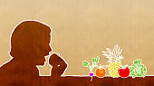 Healthy Food - single line human profile and fruits