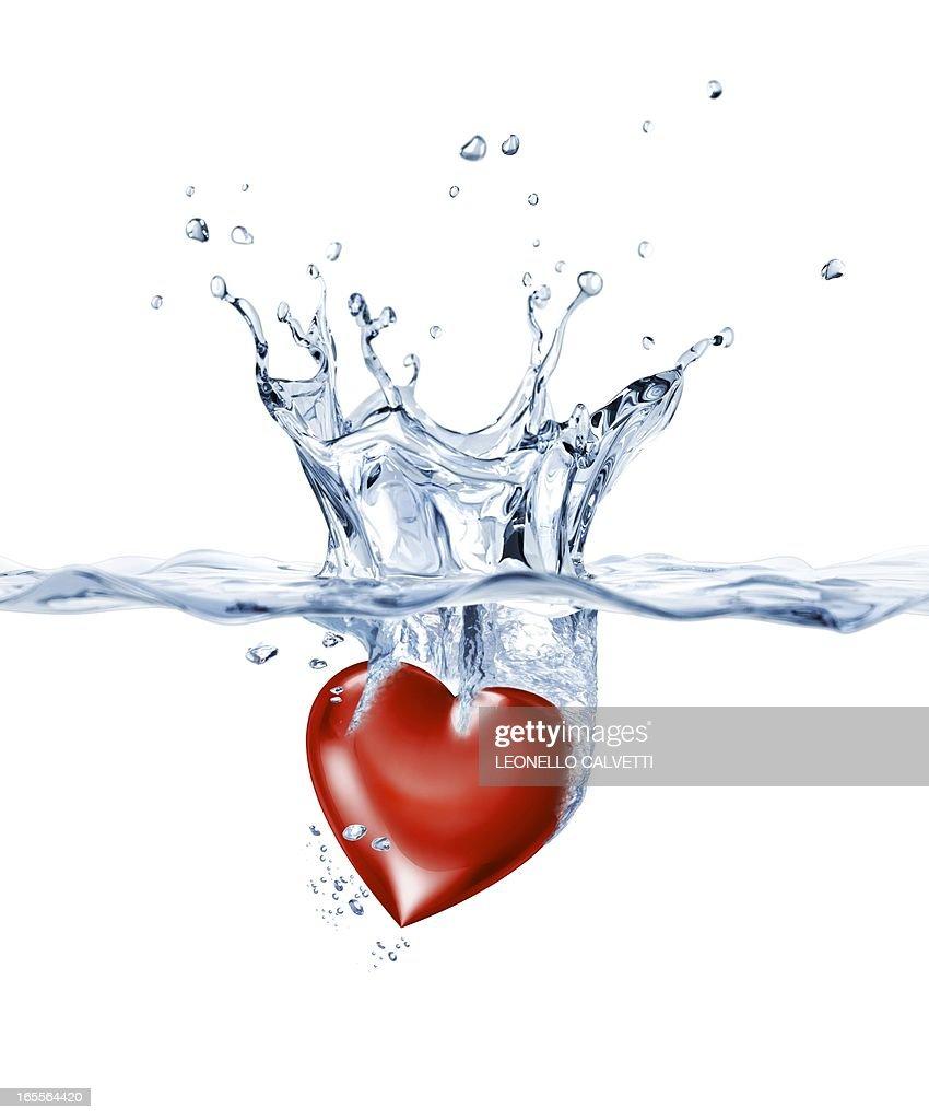 Heart in water, artwork : Stock Illustration