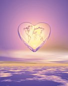 Heart shaped world map in the sky, Computer Graphics, composition