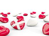 Heart with flag of denmark isolated on white. 3D illustration