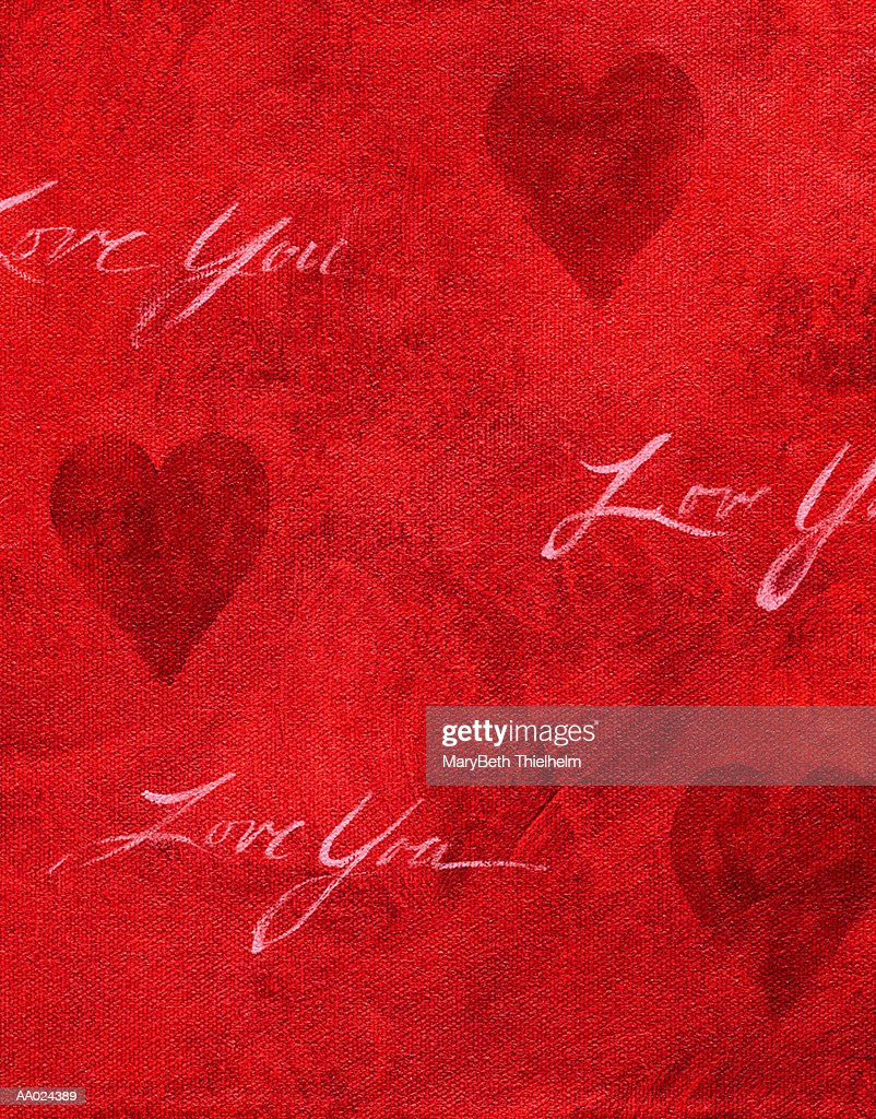 Hearts and Text on a Red Canvas : Stock Illustration