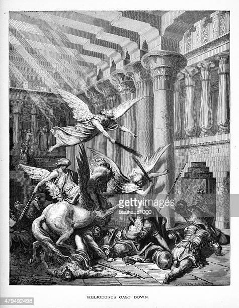 Heliodorus Cast Down Biblical Engraving