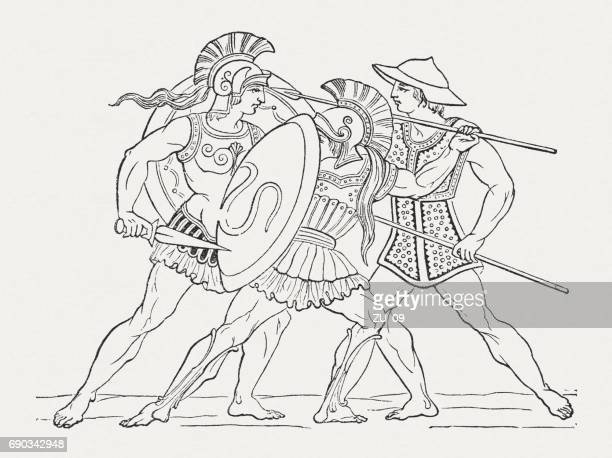 Hellenistic warriors of Antiquity, wood engraving, published in 1880