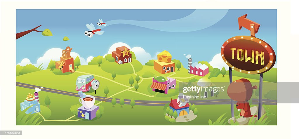 High angle view of a road passing through a town : Vector Art