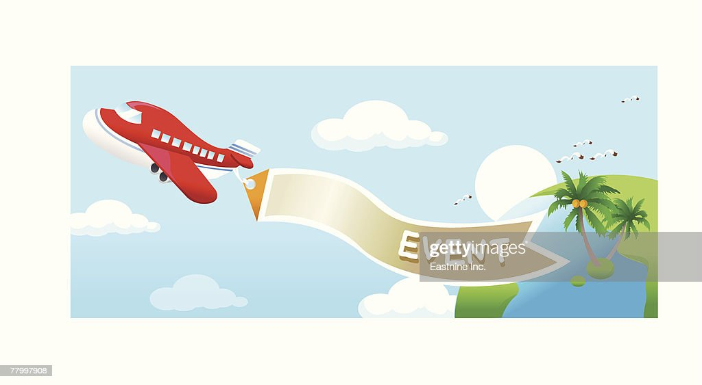 High angle view of an airplane in flight with a banner : Vector Art