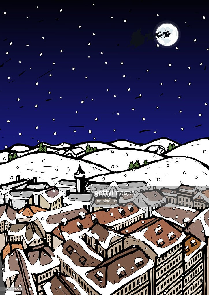 High angle view of snow covered houses in a town and silhouette of reindeers over moon in the sky at night : Stock Illustration