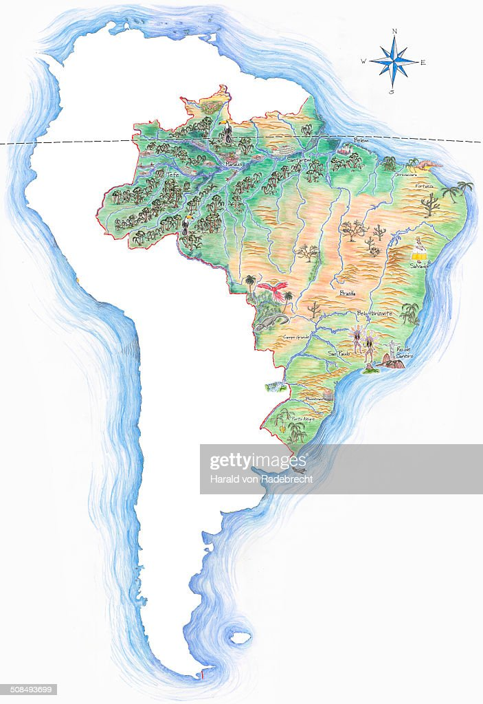 Highly Detailed Handdrawn Map Of Brazil Within The Outline Of - South america map brazil