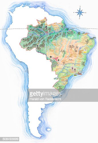 Highly Detailed Handdrawn Map Of Brazil Within The Outline Of - Brazil map illustration