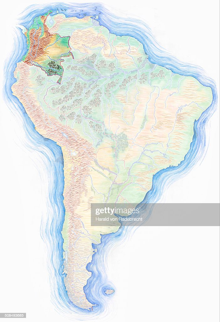 Highly Detailed Handdrawn Map Of South America With Colombia - Colombia map south america