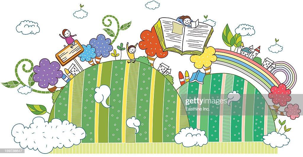 hill and children : Stock Illustration
