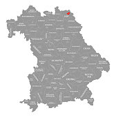 Hof city highlighted in map of Bavaria Germany