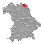 Hof county red highlighted in map of Bavaria Germany