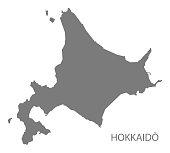 Hokkaido Japan Map in grey