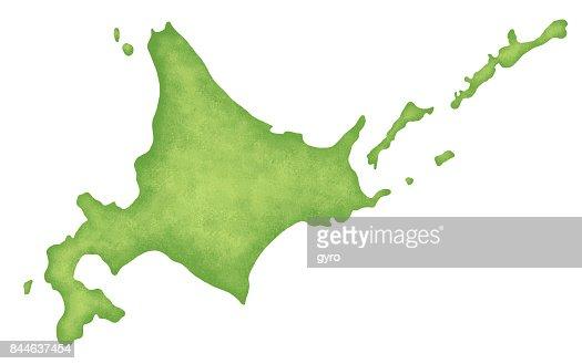 Hokkaido map : stock illustration
