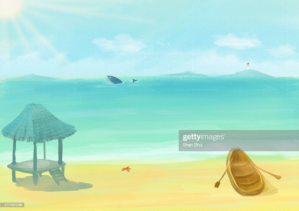 holiday beach in summer : Stock Illustration
