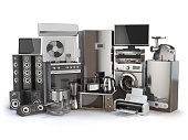 Home appliances. Gas cooker, tv cinema, refrigerator air conditioner microwave, laptop  washing machine, blender  toaster  coffee machine, meat ginder and kettle. 3d illustration