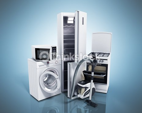 Home appliances group of white refrigerator washing machine stock foto thinkstock - Home appliances that we thought ...
