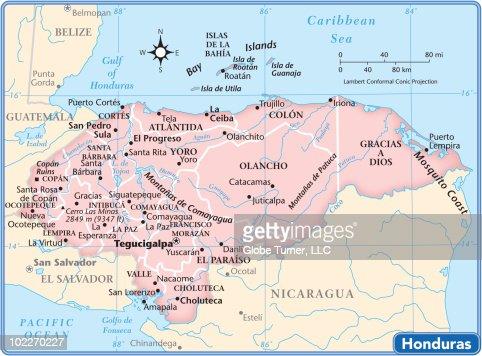 Honduras Country Map Vector Art Getty Images - Honduras country political map
