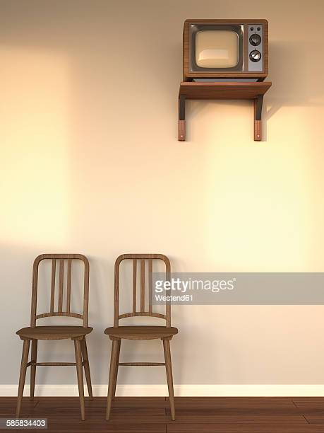 Hotel room with old TV and two wooden chairs at twilight, 3D Rendering