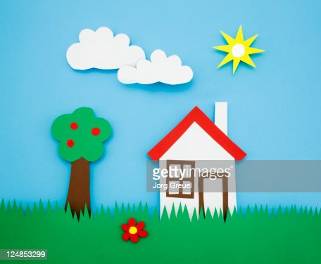 A house and a tree on a meadow : Stock Illustration
