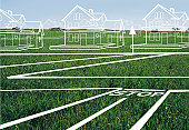 House and town plans on lawn (digital composite)