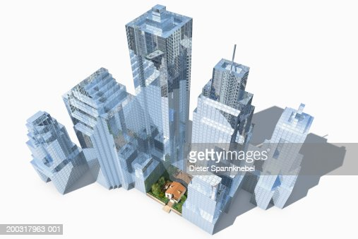 House surrounded by skyscrapers, elevated view (Digital) : Stock Illustration