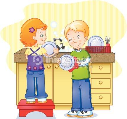 household chore series doing dishes vector art thinkstock