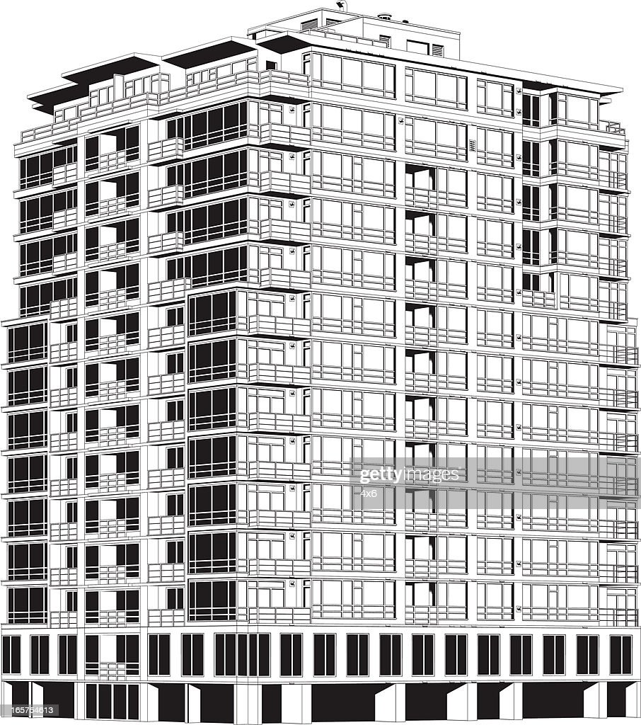 Huge Apartment Building Vector Art
