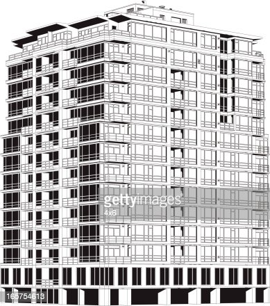Building With Apartments Upstairs And Shops Downstairs Vector Art