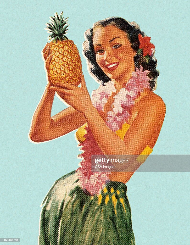 Hula Girl Holding Pineapple : Stock Illustration