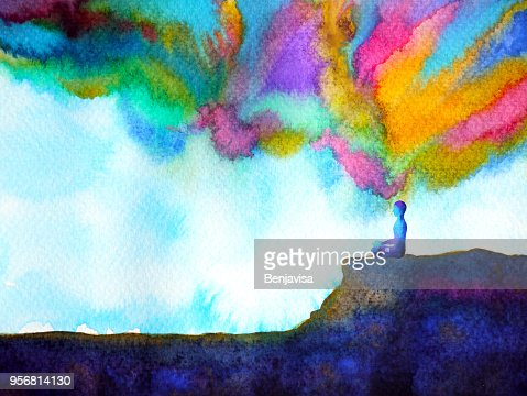 human and spirit powerful energy connect to the universe power abstract art watercolor painting illustration design hand drawn : Stock Illustration
