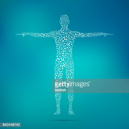 Human body with molecules DNA. Medicine, science and technology concept. Illustration : Stock Illustration