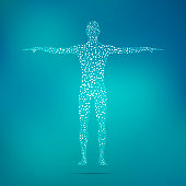 Human body with molecules DNA. Medicine, science and technology concept. Illustration.