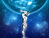 Mythological antique athlete Hero keeps the sphere (planet Earth) fantastic night sky and stars - creative concept and double exposure illustration.
